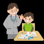 老師と学習する男の子
